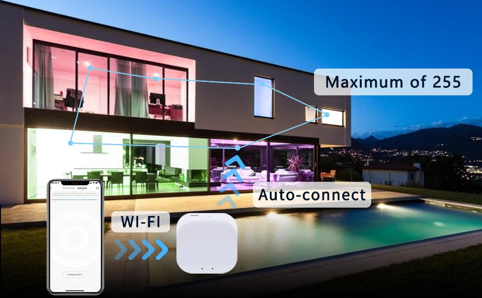 hub automatically connect all bulbs via Bluetooth