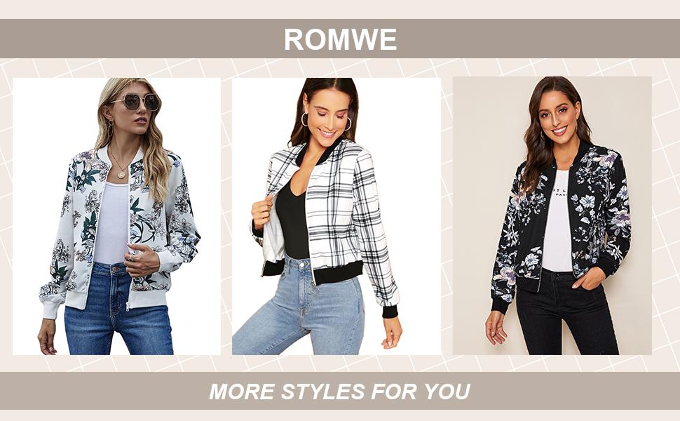 Romwe Women's Long Sleeve Zipper Plaid Stand Collar Bomber Jacket Top