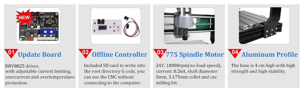 juego est/ándar de tornillo MYSWEETY Mini CNC mecanizado para mesa de carpinter/ía de madera m/áquina pulidora de cuentas 24 V CC 80 W