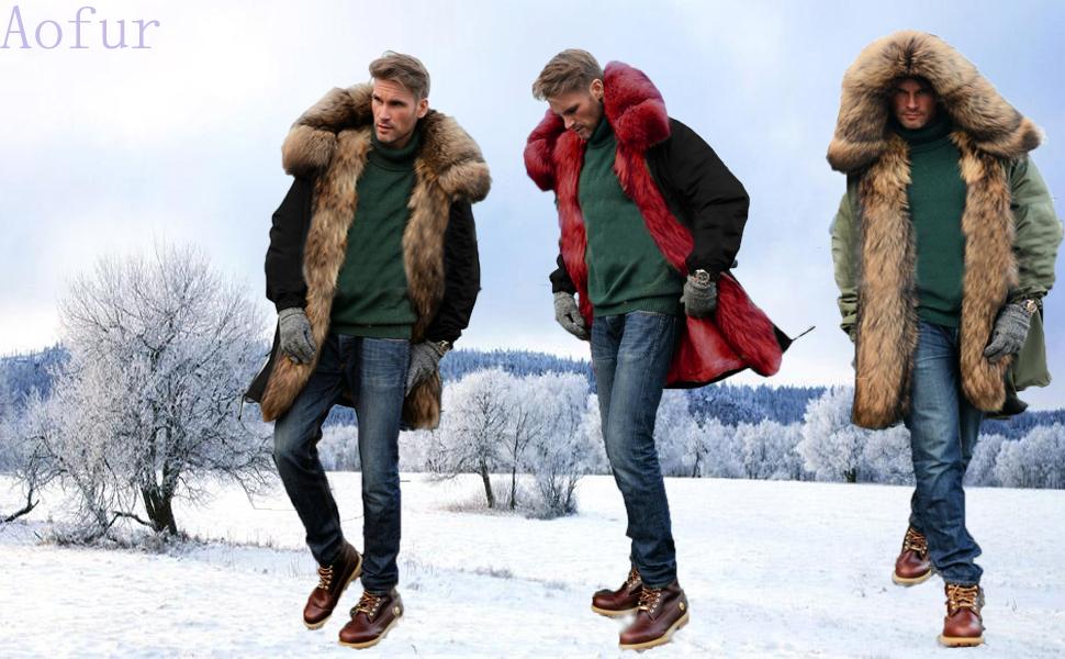 Men Faux Fur Coat Slim Fit Mid Long Winter Warm Black Casual