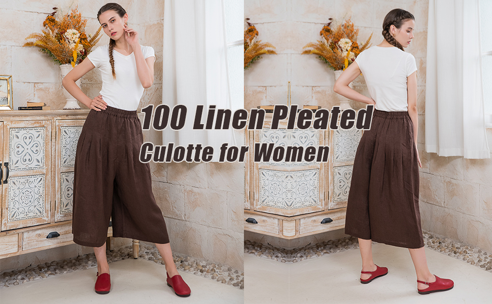100 linen pleated pants