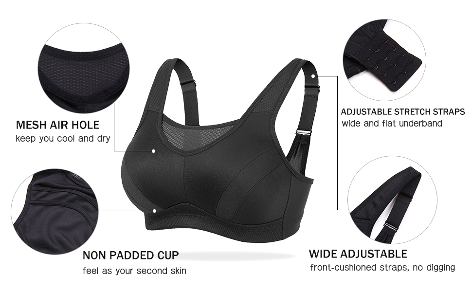 Deyllo Women's High Impact Full-Support Plus Size Wirefree Workout Sports Bra
