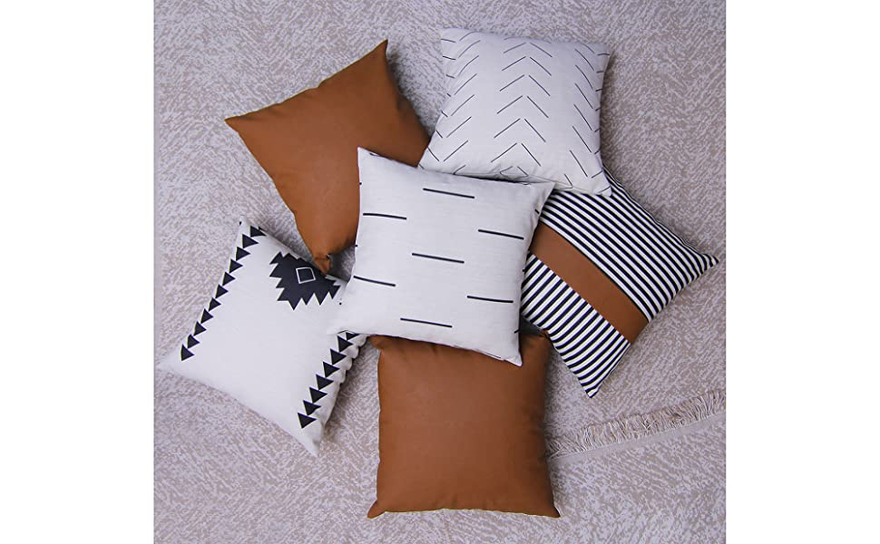 Decorative Throw Pillow Covers Cases Modern Design Cotton Faux Leather Boho Decorative Pillow Covers