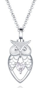 silver owl urn necklace