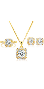 gold plated jewelry set,jewelry set for women,engagement ring,halo rings,necklace earrings rings set