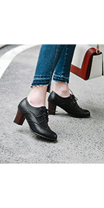 black chunky heel oxfords