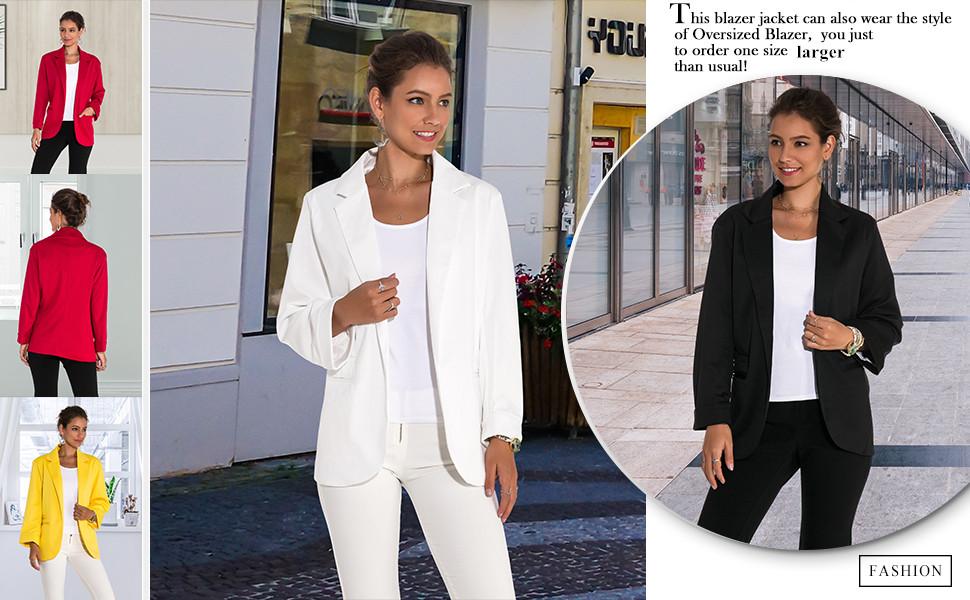 Lrady Women's Ruched Sleeve Open Front Lightweight Work Office Blazer Jacket