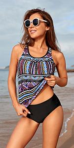2 two piece women tankini swimsuit blouson bathing suit tummy control withbra tribal athletic ladies