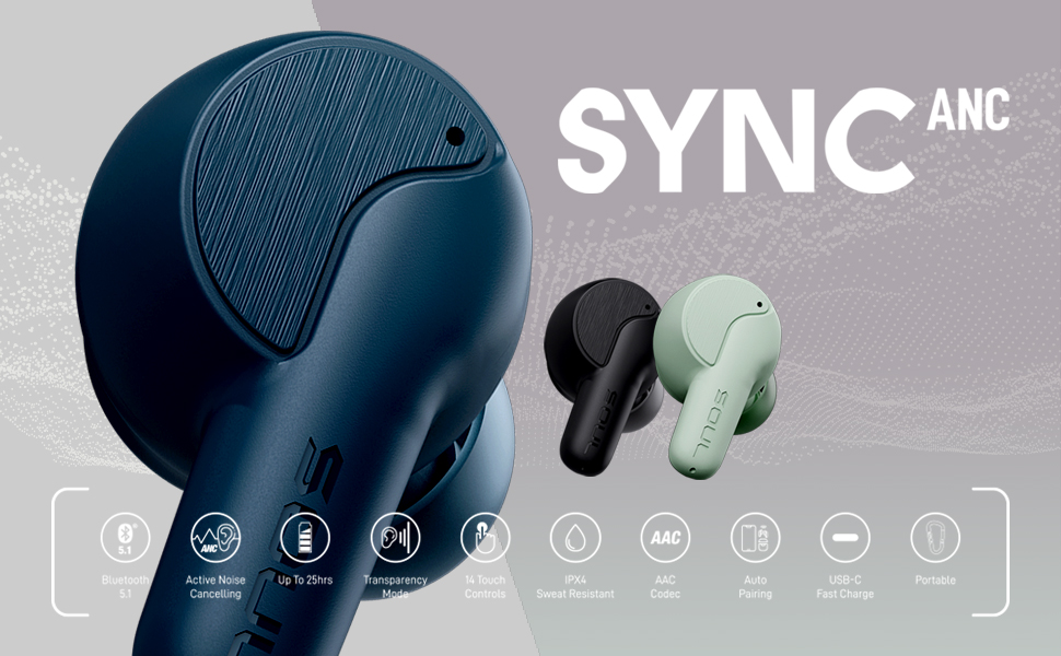 soul sync anc active noise cancelling headphones earbuds earphones water resistant long battery life