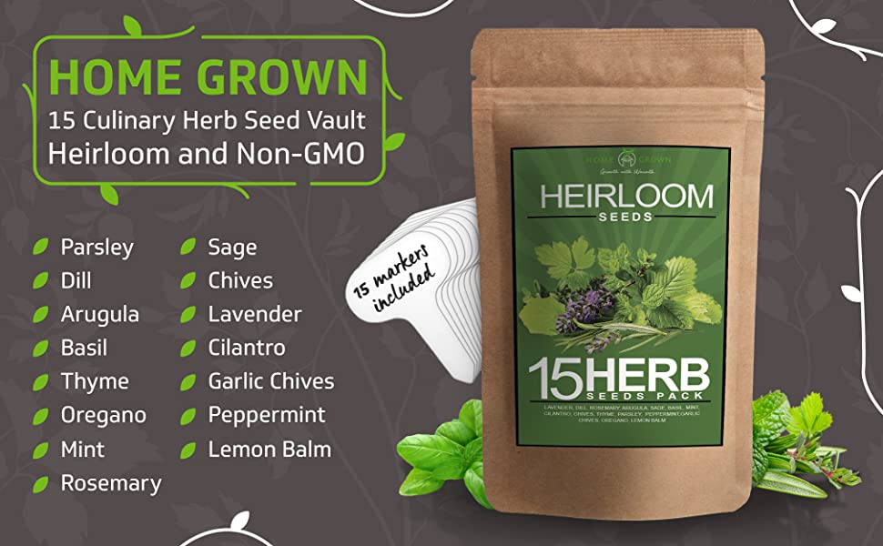 home grown 15 culinary herb seed vault