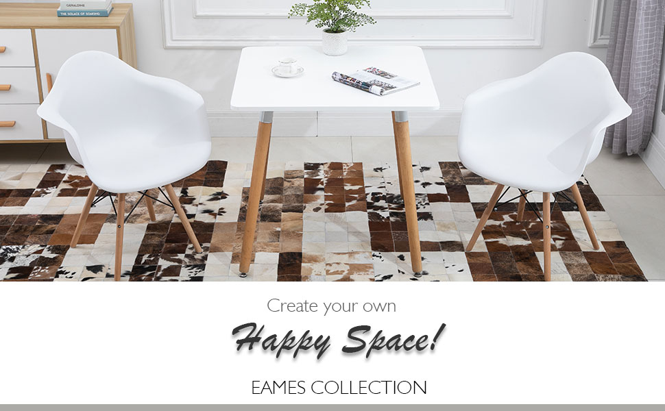 Dining table with armchair rest white