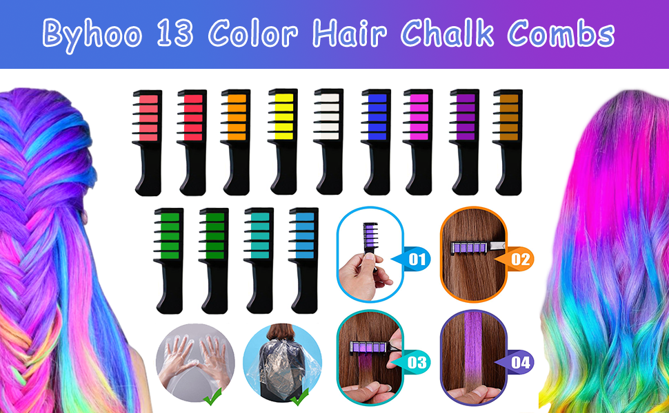 13 Color Temporary Hair Chalk Combs for Girls Teens