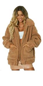 Fluffy Women Coats Faux Wool Blend Warm Winter Jacket