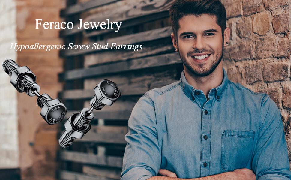 mens screw earrings