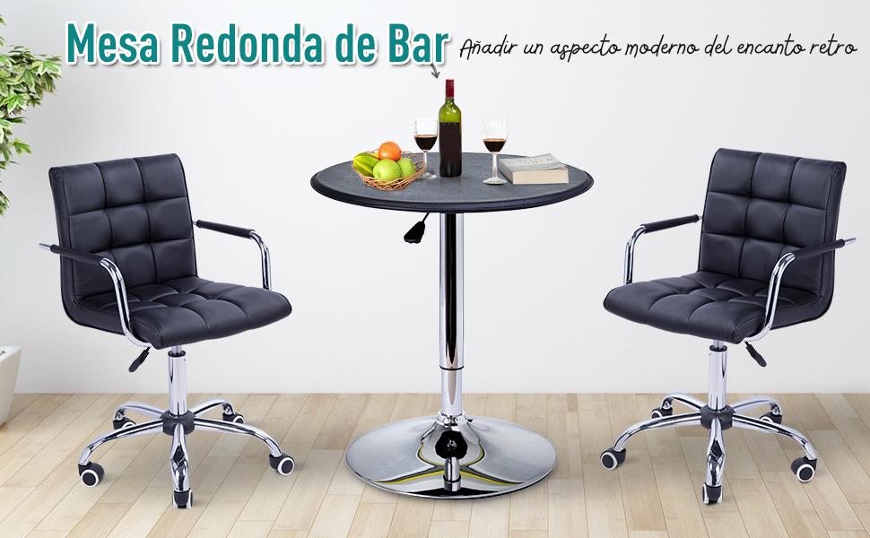 HOMCOM Mesa de Bar Regulable en Altura Hidraulica Pub Vinilo Negro ...