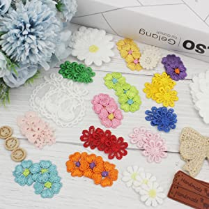 IDONGCAI Daisy Flower Lace Applique Patch Set-Include Sunflower,Daisy,Bowknots,Swan,Leather Label,Buttons,Used for Clothes Junk Journals,Office Decoration,Wedding Party Mix 60pcs DIY Sew Crafts