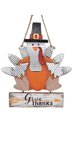 Thanksgiving Turkey Decoration, Wooden Board Carved Give Thanks Hanging Turkey