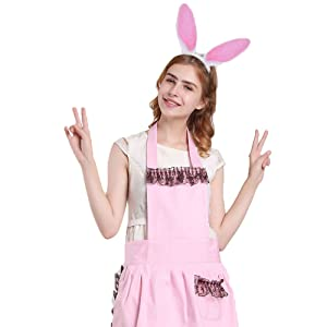 forocean ✿Bunny Ears Headband /& Tail B-/¨/¹TT an-?l Pl-/¨/´g T-?-ys with Bell Choker Collar Costume Accessories Props Masquerade Party Cosplay Prop Size-S