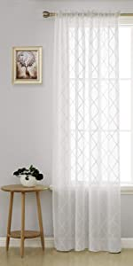 Sheer curtains voile drapes embroidered sheer window curtains