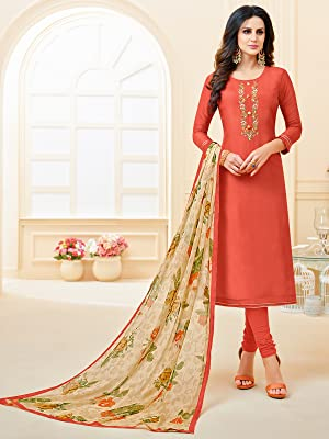 Rajnandini Chanderi Silk Semi-stitched Salwar Suit Dress Material