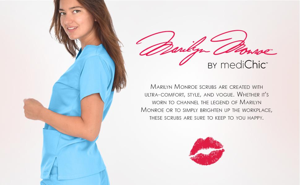 Model wearing Marilyn Monroe scrubs by MediChic