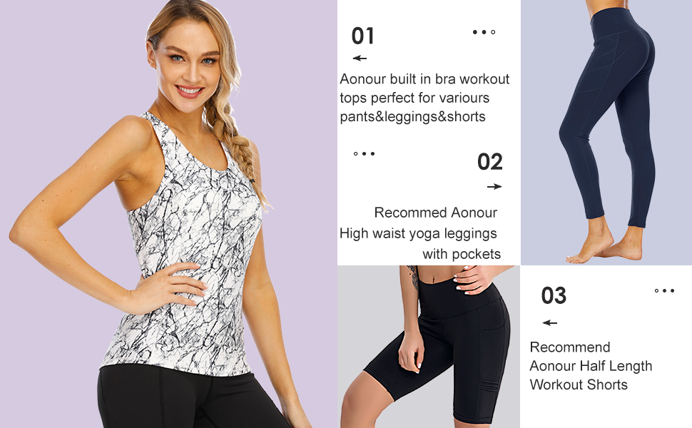 Aonour Workout Tops for Women with Built in Bra Criss Cross Tank Tops for Women Slim Fit Gym Clothes for Women