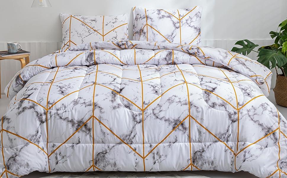 white gold marble comforter set