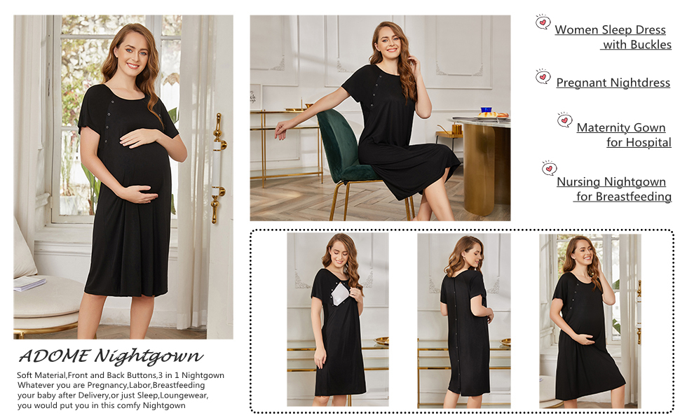 Short Sleeve Maternity Nightgown with Button