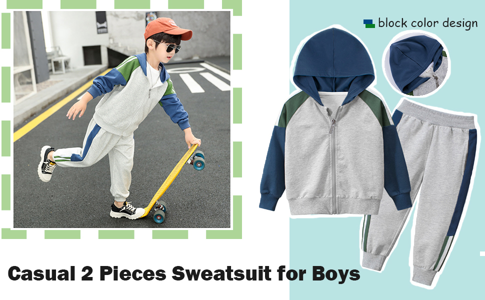 boys spring fall 2 pieces sweatsuit set