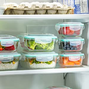 Vallo glass food storage containers airtight leak proof snap lock lids meal prep tupperware safe