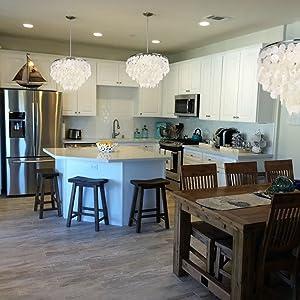 kitchen island capiz pendant lighting