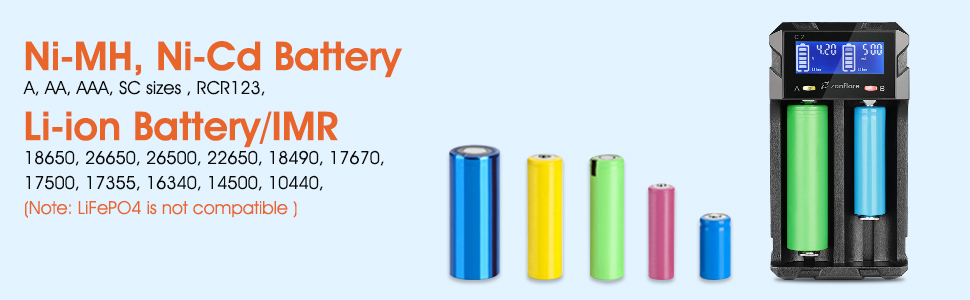 LCD Display Speedy Universal Battery Charger USB Battery Charger, Zanflare C2 Smart Charger Quick Charge for Rechargeable Batteries Ni-MH Ni-Cd A AA ...