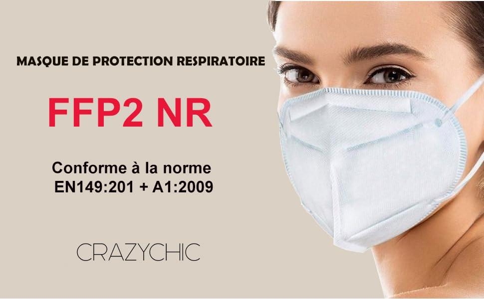 CRAZYCHIC - Masque FFP2 NR - Norme CE EN149 - Masque de Protection Respiratoire Certifié