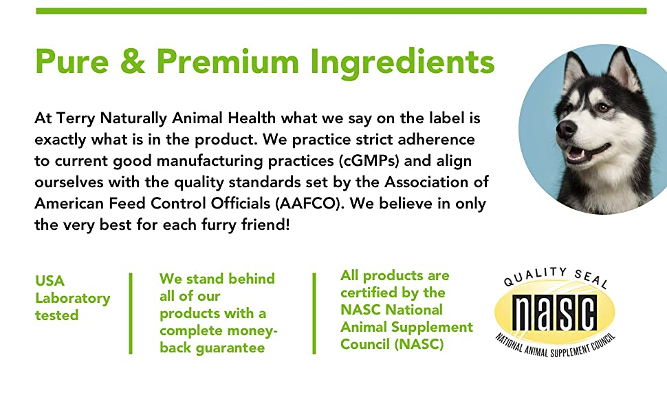 pure premium ingredients, gmp, aafco, nasc, animal supplements, pet safe, dog safe