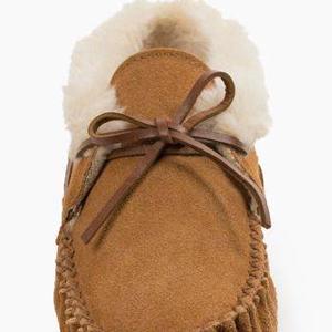 furry fuzzy gift girl house houseshoe indoor lady leather moc mocc moccasin modern on shoe size