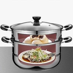 26 cm de acero inoxidable s/ólido y duradero de doble capa Olla de vapor de alimentos Olla Olla Utensilios de cocina Herramienta de cocina dom/éstica Olla de vapor