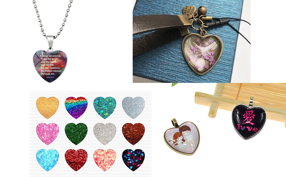 Misscrafts Heart Shaped Pendant Trays Glass Cabochon Bezel Cabochon Settings 30 Sets for Necklace Jewellery Making