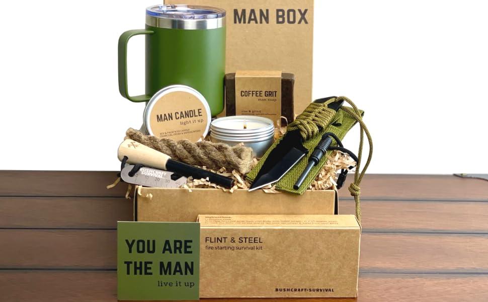man gift box him presents guy stuff cool gifts fire starter candle tumbler soap ferro rod knife