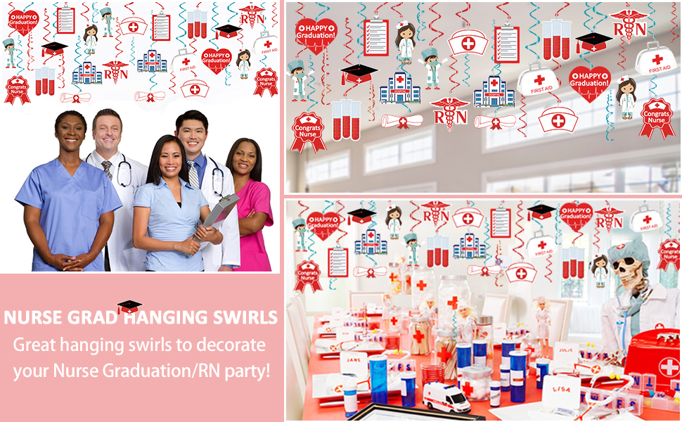 Rn Grad party Supplies Nurse Party Decoration Supplies Nurse Decorations 36Pcs Nursing Hanging Swirls Decorations Nursing Decoration Medical Rn Themed Party Decor Nurse Graduation Decoration