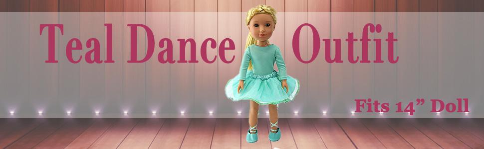 "Mint Green Glitter Dance Tutu Set Fits Wellie Wisher 14.5/"" American Girl Clothes"