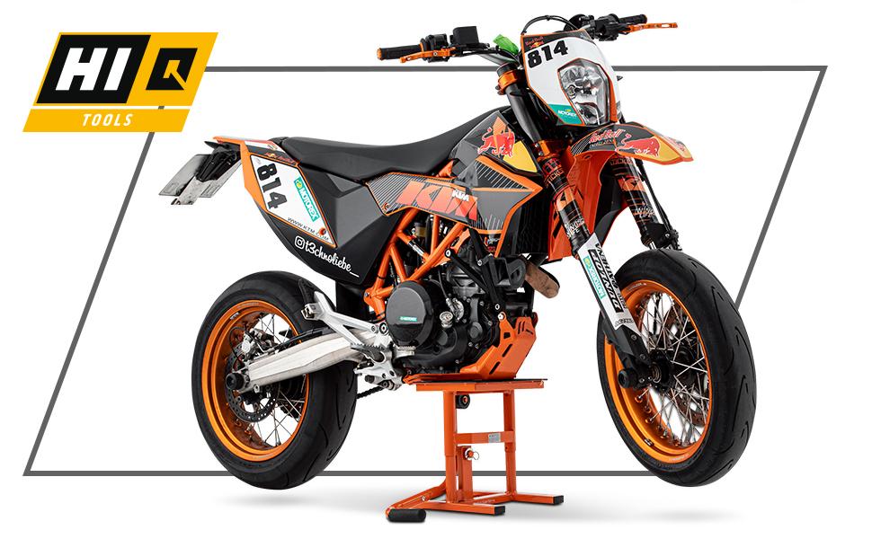 Hi Q Tools Montageständer Motorrad Ständer Motorradheber Hubständer Enduro Supermoto 25 34cm Unisex Enduro Adventure Ganzjährig Stahl Orange Auto