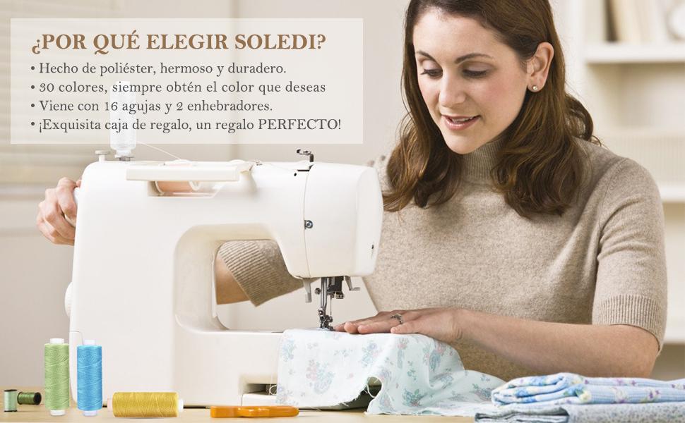 SOLEDI Kit de Costura 30 Hilo de Coser,16 Agujas de Coser y 2 ...