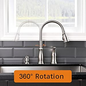APPASO 3 Hole Kitchen Faucet with Pull Down Magnetic Docking Sprayer Stainless Steel Brushed Nickel