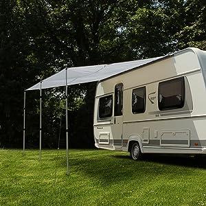 Your Gear Wohnwagen Sonnensegel Caravan Tarp 4 X 2 4 M Sonnendach Inkl Aufstellstangen Uv 50 Schutz Wasserdicht 5000 Mm Sport Freizeit
