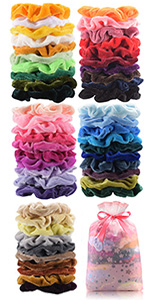 amazon com 50 pcs premium velvet hair scrunchies hair
