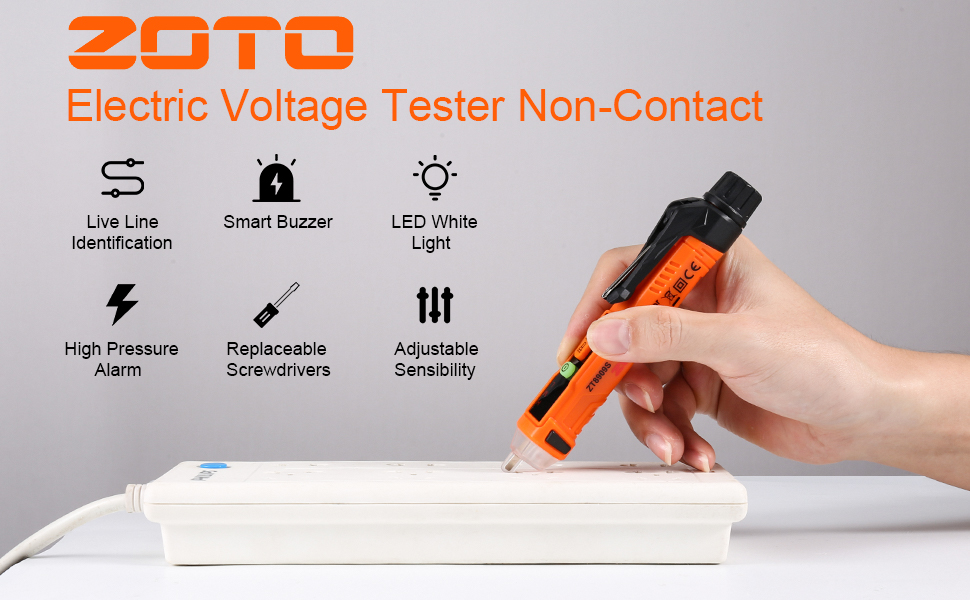 :ZOTO Non-Contact Voltage Tester with Adjustable Sensitivity.
