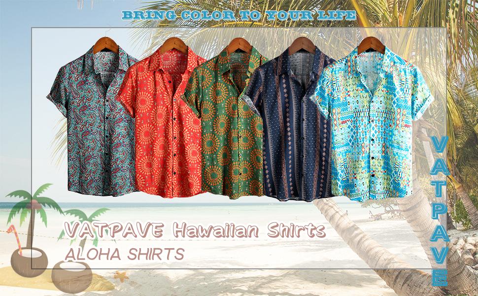 Mens Hawaiian Shirt Button Down Tropical Beach Aloha Shirts