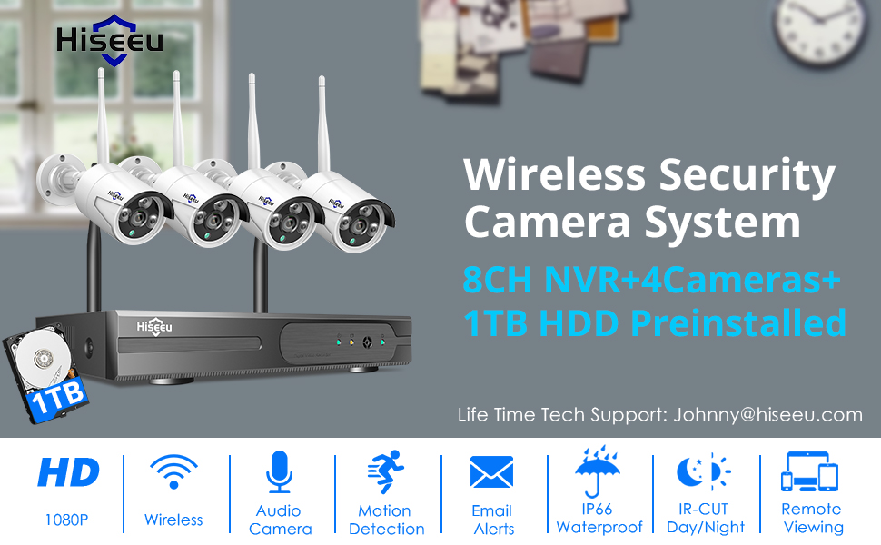 Wireless Security camera  [Expandable 8CH] Hiseeu Wireless Security Camera System with 1TB Hard Drive with One-Way Audio, 8 Channel NVR 4Pcs 1080P 2.0MP Night Vision WiFi IP Security Surveillance Cameras Home Outdoor 99d89ae4 76a0 4864 b1ea d64161d5ec41