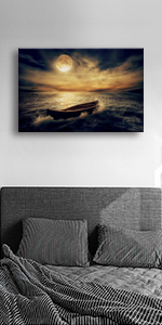 Waves Fairy Tale Night Moon a Boat painting of picture printing on canvas