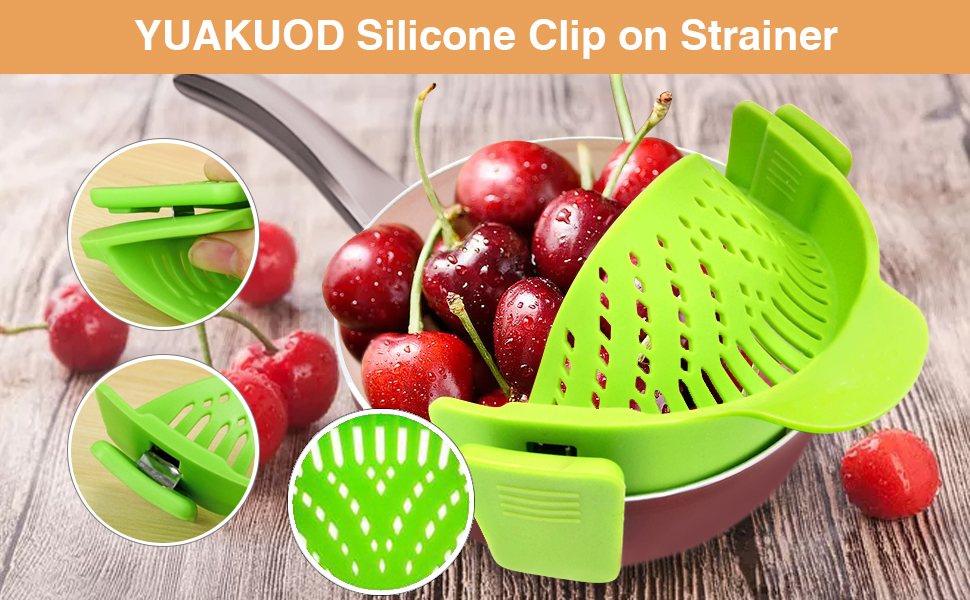 silicone food strainers strainers for kitchen Food strainers silicone strainer clip on